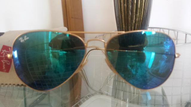 b53b10f6f Óculos Ray Ban Aviador Azul Espelhado Original - Bijouterias ...