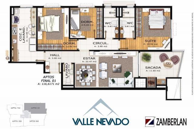 Apartamento à venda com 3 dormitórios em Nossa senhora de lourdes, Santa maria cod:10142 - Foto 4
