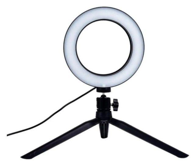 Ring Light Led Mesa Iluminador Pequena Tripé 6 Polegada 16cm. - Foto 2