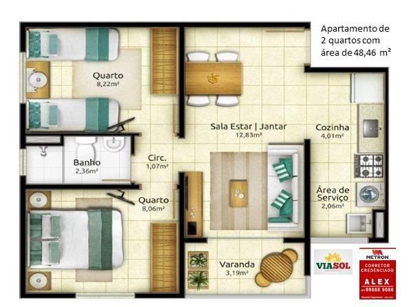 ALX - 26 - Mude para Morada de Laranjeiras - Apartamento de 2 Quartos com Varanda - Foto 5