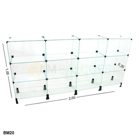 Balcao de vidro Modulado - 2,00 x 1,00 x 0,30 frete gratis SP