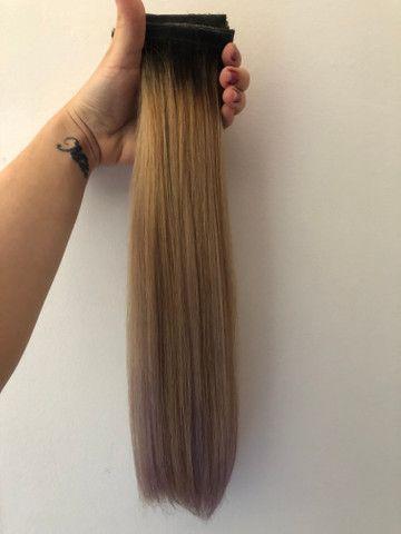 Mega Hair Fita - Cabelo brasileiro com merchas loiras - Foto 3