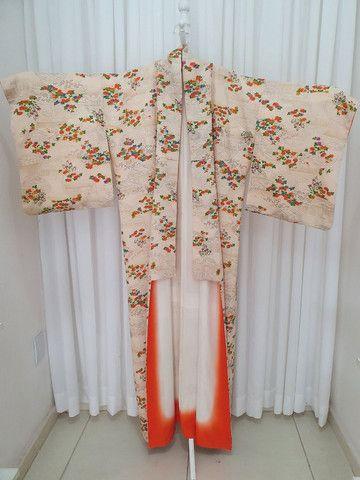 Kimono vintage japones de seda importado do Japão  - Foto 5