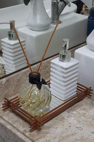 Bandeja Espelhada Decoração Para Banheiro Lavabo Cobre - Foto 2