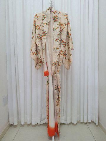 Kimono vintage japones de seda importado do Japão