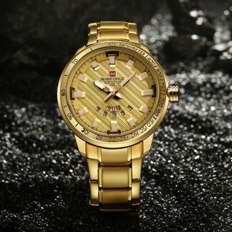 0910a204e9f Relógio Naviforce Luxo Aço Inoxidável Masculino Dourado ...