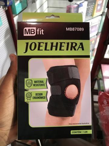 Joelheira, tornozeleira, corretor de postura