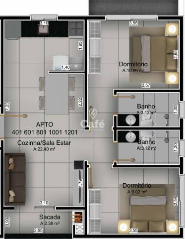 Apartamento de 2 dormitórios sendo 1 suíte com garagem no bairro Nossa Senhora do Rosario - Foto 11