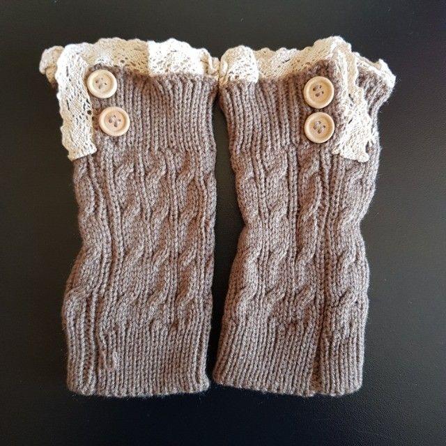 Conjunto De 02 Meias Crochet Malha Curta Para Bota Inverno