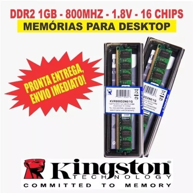 Memória Kingston Ddr2 1gb desktop