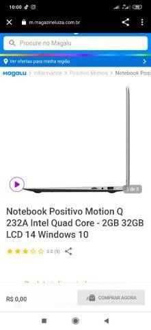 Notebook Positivo Motion Q 232A Intel Quad Core 2GB 32GB LCD 14 Windows 10 - Foto 5