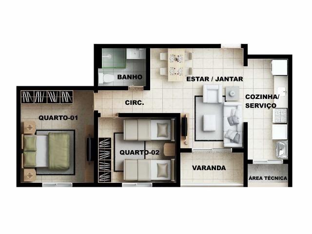 Apartamento 2/4 com suíte - Entrada Facilitada - 1 minuto da FTC - Bairro SIM - Foto 15