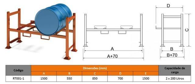 Rack para armazenamento de tambores 200l - Foto 2