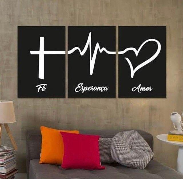 Placas mdf kit  fé esperança e amor - Foto 2