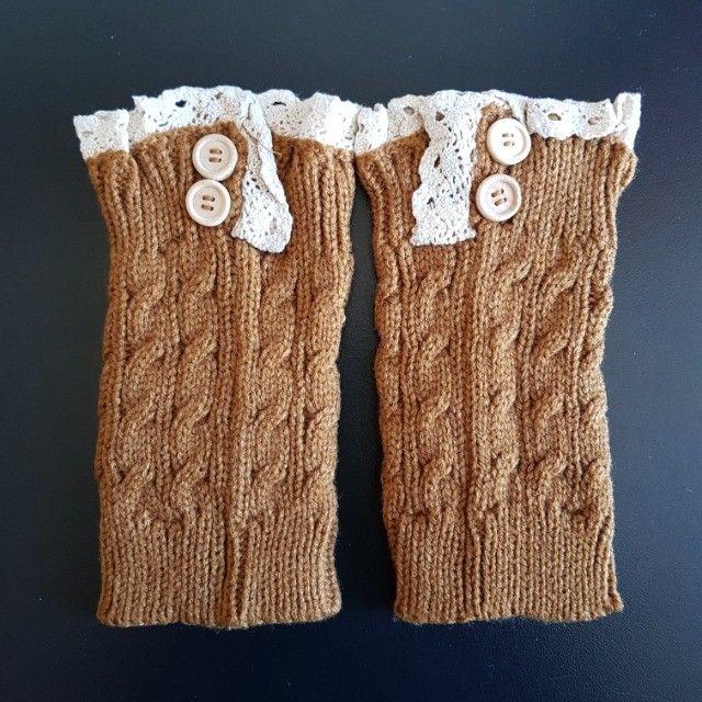 Conjunto De 02 Meias Crochet Malha Curta Para Bota Inverno - Foto 2
