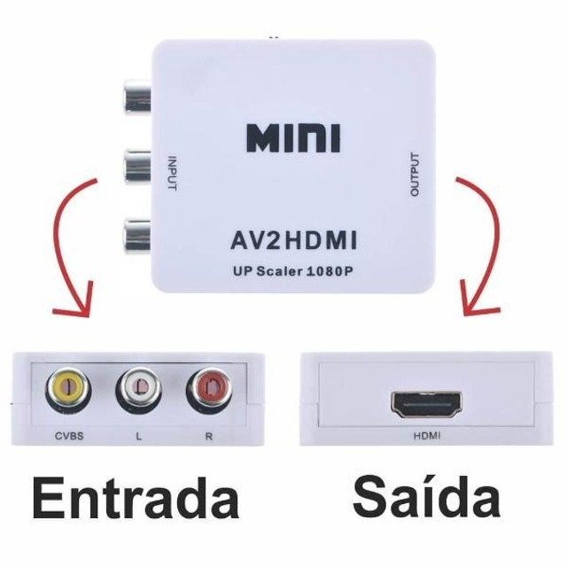 Conversor Mini Adaptador De Hdmi P Video 3 Rca Av  ou Video 3 Rca Av P Hdmi  - Foto 3