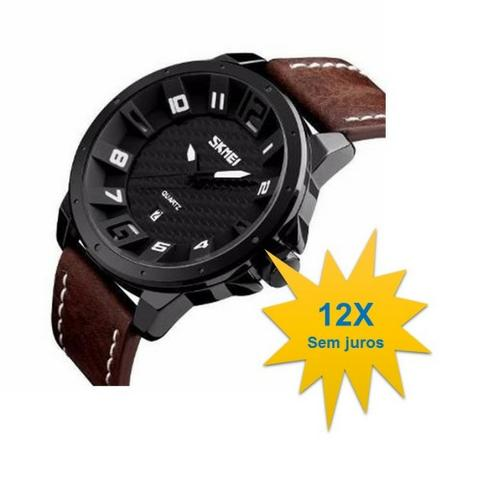 Relógio masculino Skmei 9150 esporte prova d'agua 30m pulseira couro
