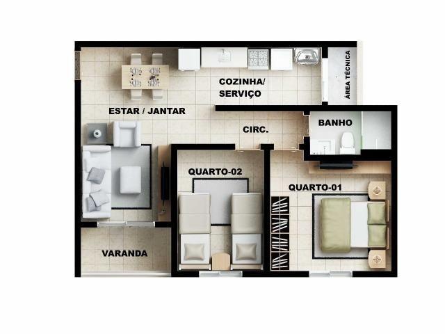 Apartamento 2/4 com suíte - Entrada Facilitada - 1 minuto da FTC - Bairro SIM - Foto 14