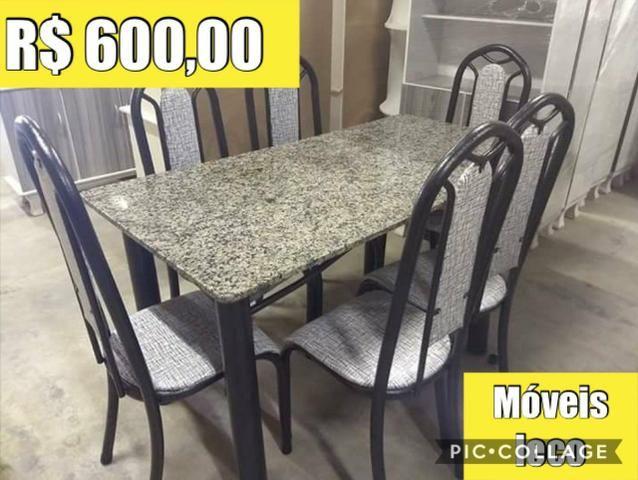 Mesa grantio 6 cadeiras por 600,00