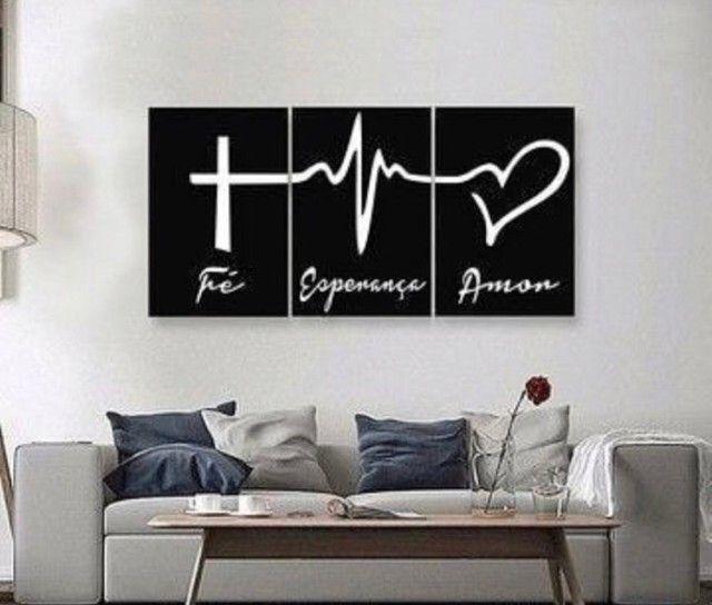 Placas mdf kit  fé esperança e amor - Foto 3
