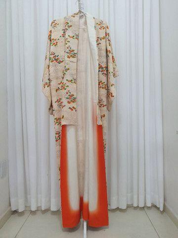 Kimono vintage japones de seda importado do Japão  - Foto 3