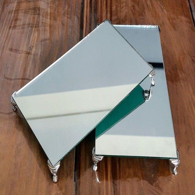Kit 02 Bandejas Espelhada  Lavabo Aromatizador Saboneteira