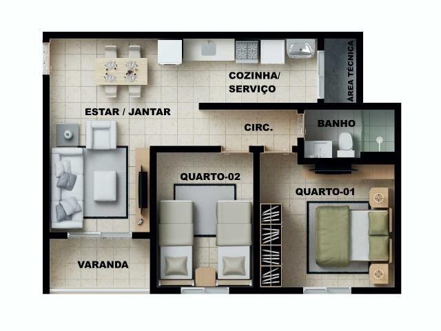 Apartamento 2/4 com suíte - Entrada Facilitada - 1 minuto da FTC - Bairro SIM - Foto 19