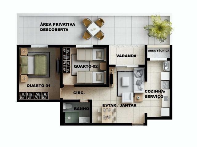 Apartamento 2/4 com suíte - Entrada Facilitada - 1 minuto da FTC - Bairro SIM - Foto 17