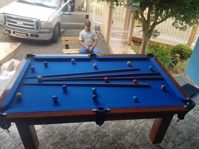 Mesa Tentação 1,93 x 1,18 | Mesa Imbuia | Tecido Azul | Modelo: BQZP2827 - Foto 3