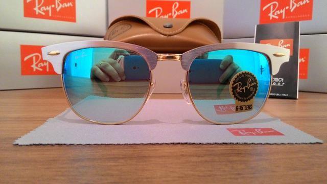 Óculos Sol RayBan Clubmaster Aluminio Azul espelhado - Bijouterias ... c7b68bb5a4