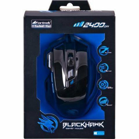 Mouse optico usb gamer fortrek 7 botoes black hawk om703 preto