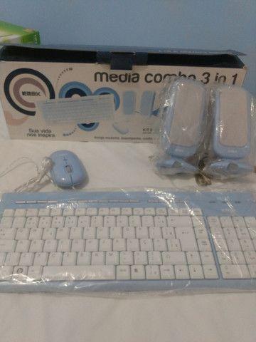 Kit Teclado, Mouse e Caixa de Som PC