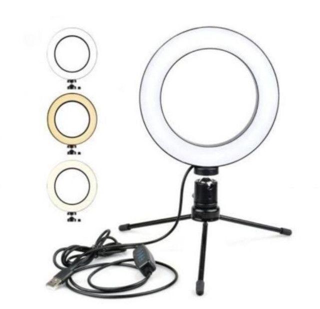 Ring Light 16cm com tripé de mesa - Foto 5