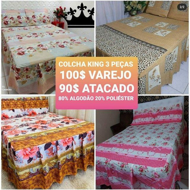 JOGO DE CAMA CASAL KING 3 PEÇAS 80% ALGODÃO  - Foto 6