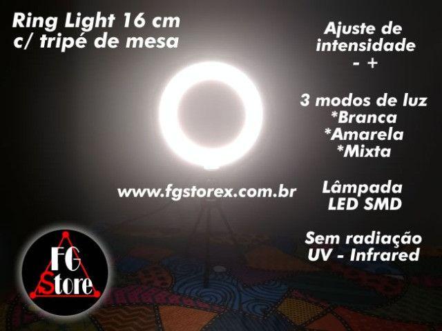 Ring Light 16cm com tripé de mesa - Foto 4