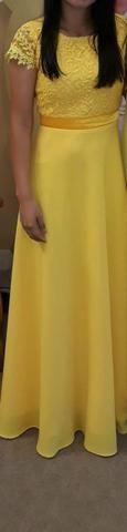 Vestido social, longo, cor amarelo