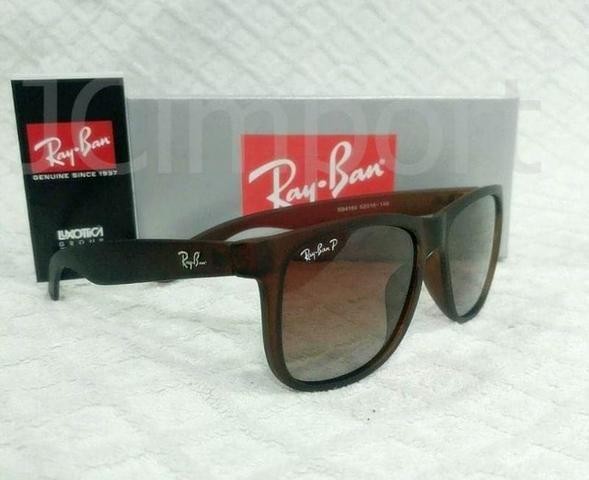 a4970c921 Óculos de Sol Ray Ban Justin Marrom RB4165 Polarizado Unissex ...