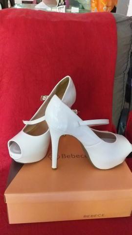 c8e87a2fc Sapato Bebece Noivas Peep Toe Verniz Branco - Roupas e calçados ...