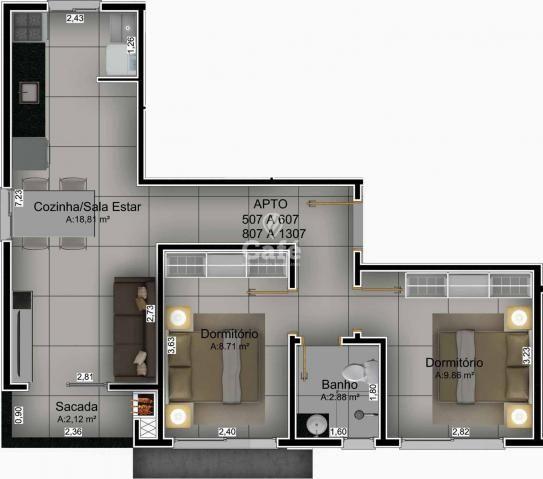 Apartamento de 2 dormitórios com garagem no bairro Nossa Senhora do Rosario - Foto 11