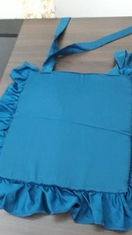 Assento Cadeira Artesanal 39x36 Azul Petróleo - Foto 4