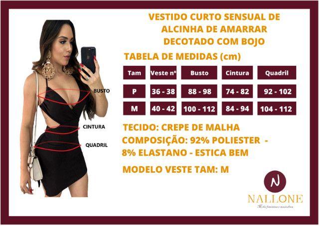 Vestido Curto Colado Sensual de Alcinha de Amarrar Decotado com Bojo Moda Festa e Balada - Foto 3
