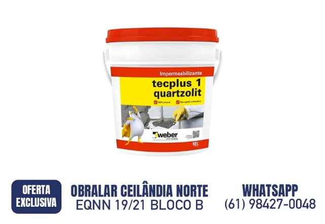 R$ 89,90 Tecplus 1 18 Litros Quartzolit