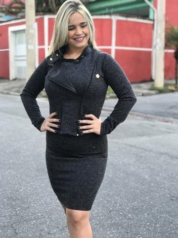 1377377cb542 Saia Lápis Evangélica Midi com Jaqueta Casaco Conjunto Feminino Casual
