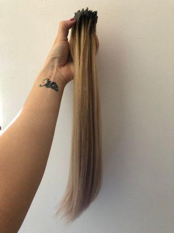 Mega Hair Fita - Cabelo brasileiro com merchas loiras