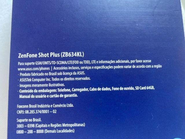 Asus Zenfone Shot Plus 128gb, 4gb RAM, Zero, NF + Garantia, Câmera Tripla, Dual Sim, Azul - Foto 3