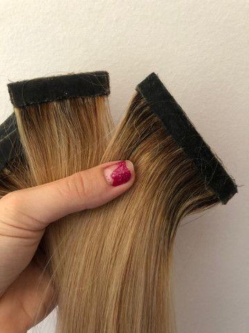 Mega Hair Fita - Cabelo brasileiro com merchas loiras - Foto 5