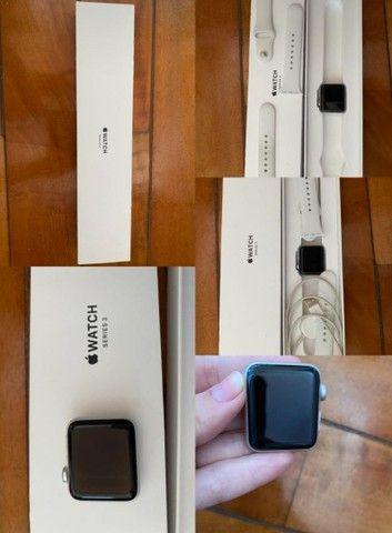 Apple watch series 3(GPS)-38mm,caixa prateada de alumínio com pulseira esportiva branca