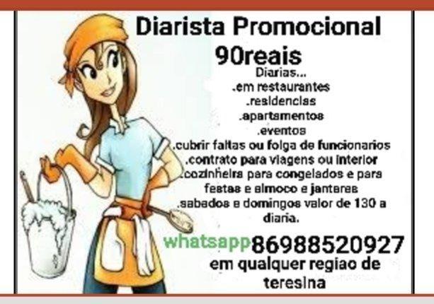 Faço diarias promocional 90 reais