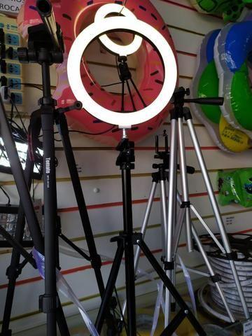 Ring light com tripé e suporte celular