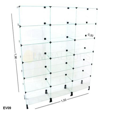 Estante de vidro 1,50 x 1,90 x 0,30 ideal para sua loja em ate 6 x sem juros